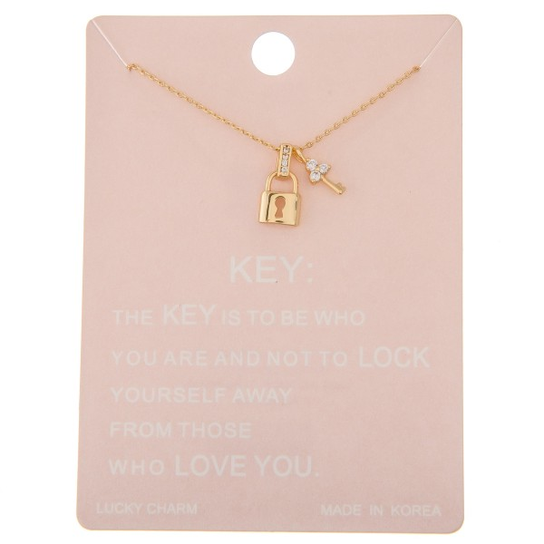 "Dainty rhinestone lock and key lucky charm necklace.  - Pendant approximately .5"" - Approximately 16"" L - 2"" extender"