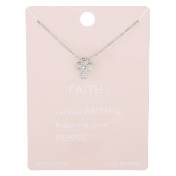 "Dainty rhinestone box cross lucky charm necklace.  - Pendant approximately 1cm - Approximately 15"" L with 2"" extender"