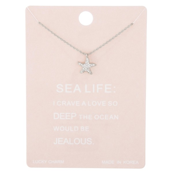 "Dainty rhinestone starfish lucky charm necklace.  - Pendant approximately 1cm - Approximately 15"" L with 2"" extender"