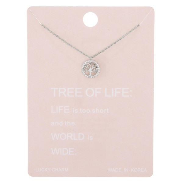 "Dainty rhinestone Tree of Life lucky charm necklace.  - Pendant approximately 1cm in diameter - Approximately 15"" L with 2"" extender"