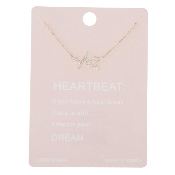 "Dainty rhinestone heartbeat lucky charm necklace with love key detail.  - Pendant approximately .5""  - Approximately 16"" in length with 2"" extender"