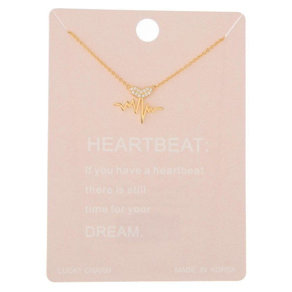"Dainty rhinestone heartbeat lucky charm necklace.  - Pendant approximately .5"" - Approximately 16"" in length with 2"" extender"