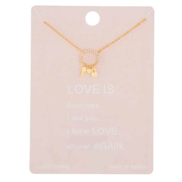 """Dainty rhinestone love lock lucky charm necklace.  - Pendant approximately .5"""" in length - Approximately 16"""" in length with 2"""" extender"""