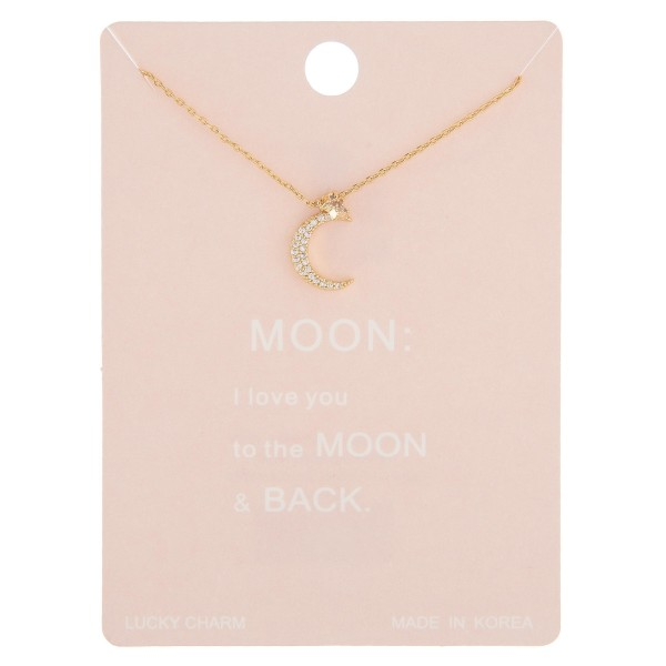 "Dainty rhinestone moon lucky charm necklace.  - Pendant approximately .5""  - Approximately 16"" in length with 2"" extender"