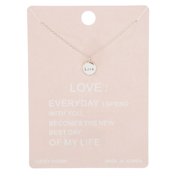 "Dainty love engraved lucky charm necklace.  - Pendant approximately 5.5mm - Approximately 16"" in length with 2"" extender"
