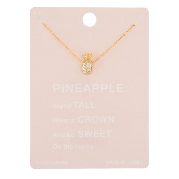 "Dainty rhinestone pineapple pendant necklace.  - Pendant approximately 12mm  - Approximately 16"" in length with 2"" extender"