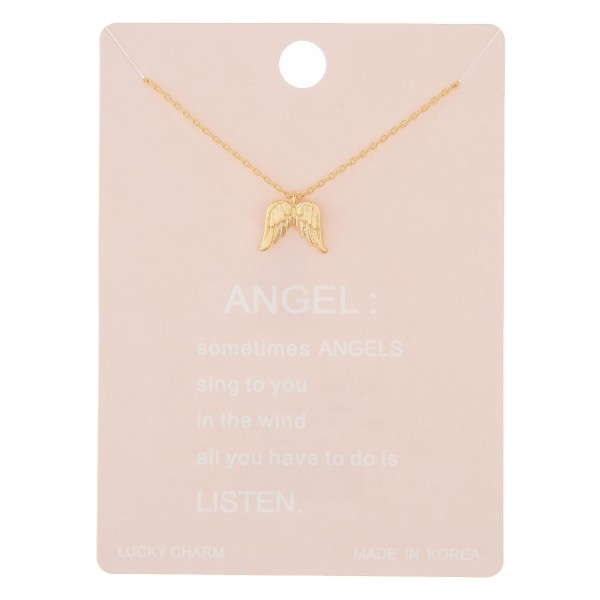 "Dainty angle wing lucky charm necklace.  - Pendant approximately 1cm  - Approximately 16"" in length with 2"" extender"