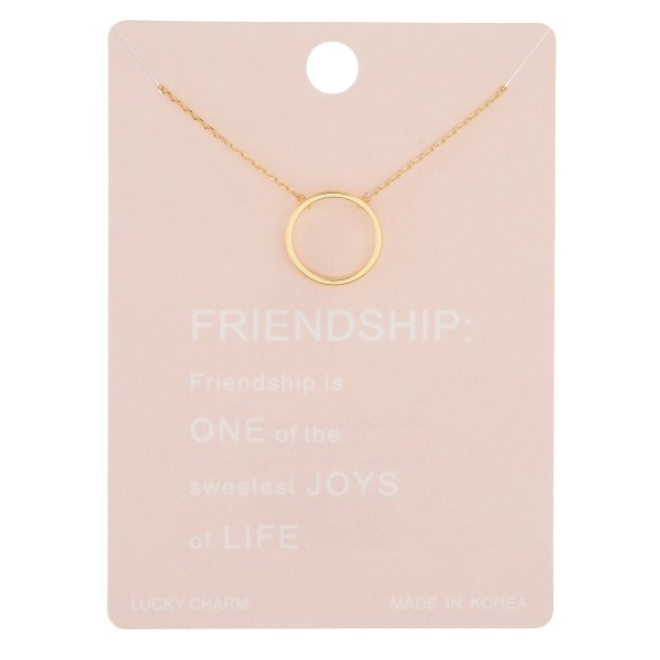 "Dainty circle of friendship lucky charm necklace.  - Pendant approximately .5"" in diameter - Approximately 16"" in length with 2"" extender"