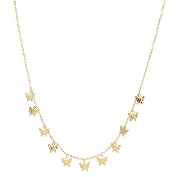 "Gold Dipped Butterfly Drip Necklace.  - Approximately 15"" L - 2"" Adjustable Extender"