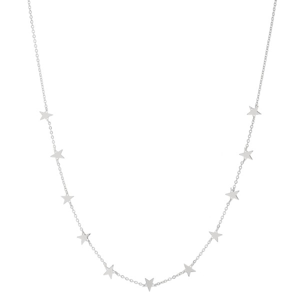 """White Gold Dipped Star Floater Necklace.  - Approximately 15"""" L  - 2"""" Adjustable Extender"""