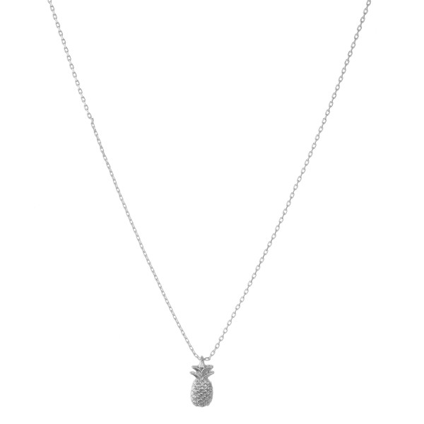 """White Gold dipped pineapple collar necklace.  - Pendant approximately 1cm  - Approximately 14"""" in length with 1"""" extender"""
