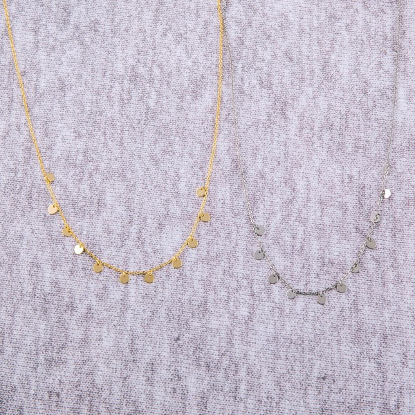 """Dainty White Gold dipped disc dangle necklace.  - Approximately 15"""" in length with 2"""" extender"""