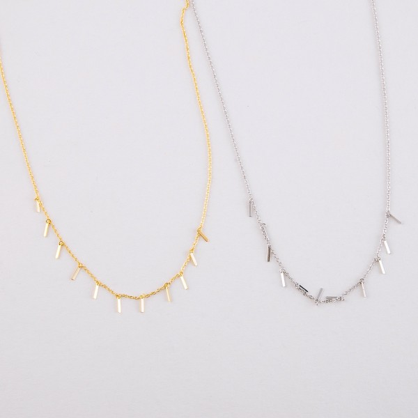 """Dainty Gold dipped bar dangle necklace.  - Approximately 15"""" in length with 2"""" extender"""