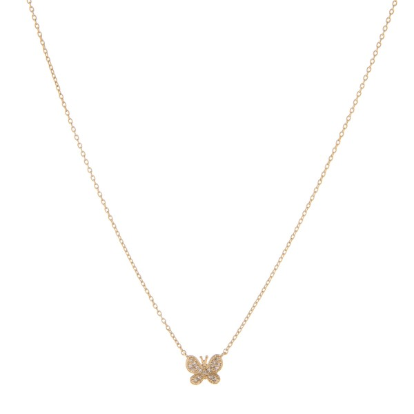 """Dainty Gold dipped cubic zirconia butterfly pendant necklace.  - Cubic Zirconia  - Pendant approximately 1cm in size - Approximately 16"""" in length with 2"""" extender"""