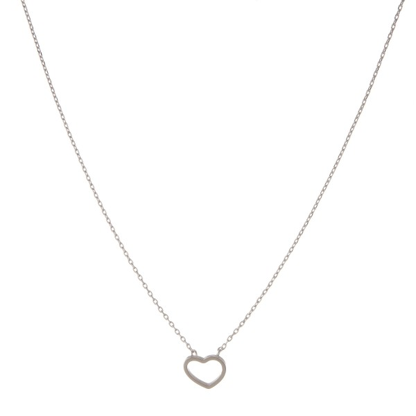 """White Gold dipped open heart collar necklace.  - Pendant approximately 1cm  - Approximately 14"""" in length with 1"""" extender"""