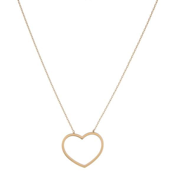 """Gold dipped open heart collar necklace.  - Pendant approximately 1""""  - Approximately 14"""" in length with 1"""" extender"""