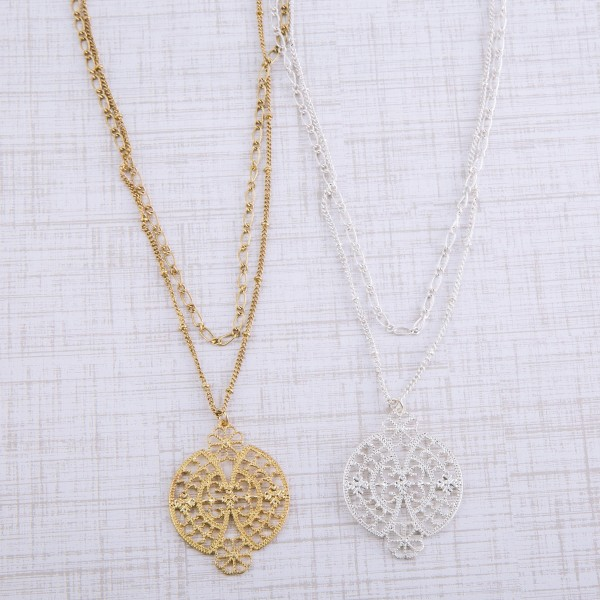 """Metal chain layered filigree necklace.  - Pendant approximately 1.5"""" in diameter - Approximately 20"""" L with 3"""" extender"""