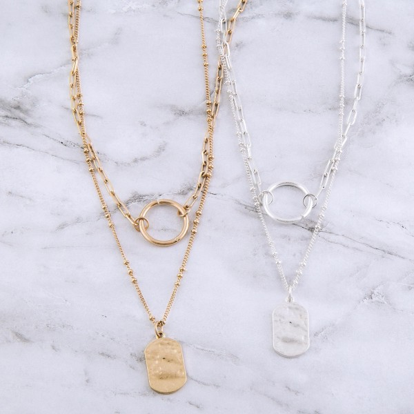 """Hammered layered chain necklace.  - Pendant approximately .75"""" - Approximately 18"""" L with 3"""" extender"""