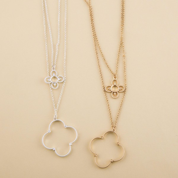 """Chain layered clover necklace.  - Pendant approximately 1.75""""  - Shortest layer approx. 16"""" L - Approximately 22"""" L with 3"""" extender"""