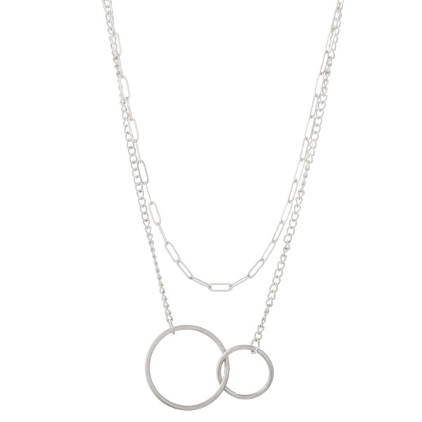 """Layered asymmetrical circle linked necklace.   - Pendant approximately 1.5"""" - Approximately 18"""" L with 3"""" extender"""