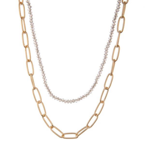 """Gold oval chain link layered beaded necklace.  - Approximately 16"""" L  - 3"""" extender"""