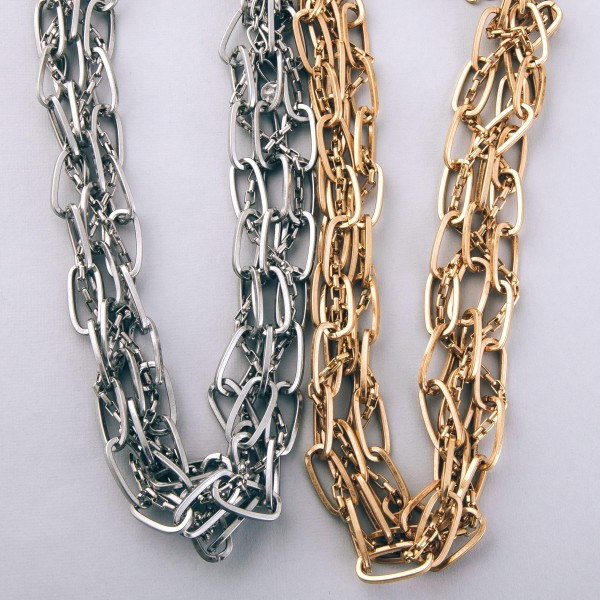 """Chunky oval chain link cluster statement necklace.  - Approximately 16"""" L  - 3"""" extender"""