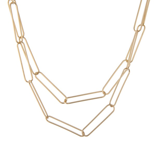 """Short Gold layered hera chain link necklace.  - Approximately 16"""" L - 3"""" extender"""