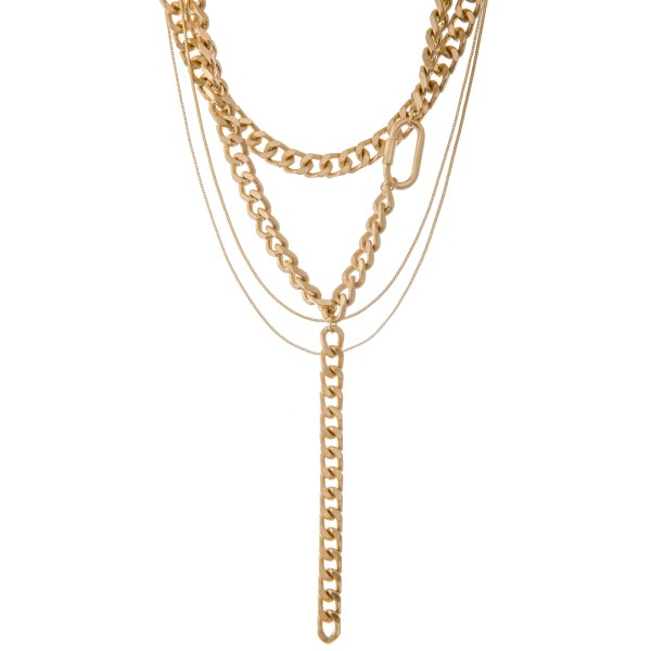 """Gold curb chain link layered carabiner statement Y necklace.  - Shortest layer approximately 14"""" L - Approximately 28"""" L overall  - 3"""" extender"""