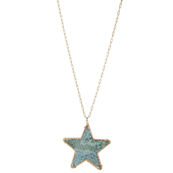 """Long Brass faux leather snakeskin star pendant necklace with metallic accents.  - Pendant approximately 2.25""""  - Approximately 32"""" L  - 3"""" extender"""