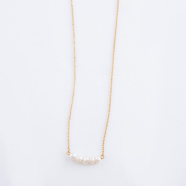 "Gold pearl beaded bar necklace.  - Approximately 14"" L  - 3"" extender"
