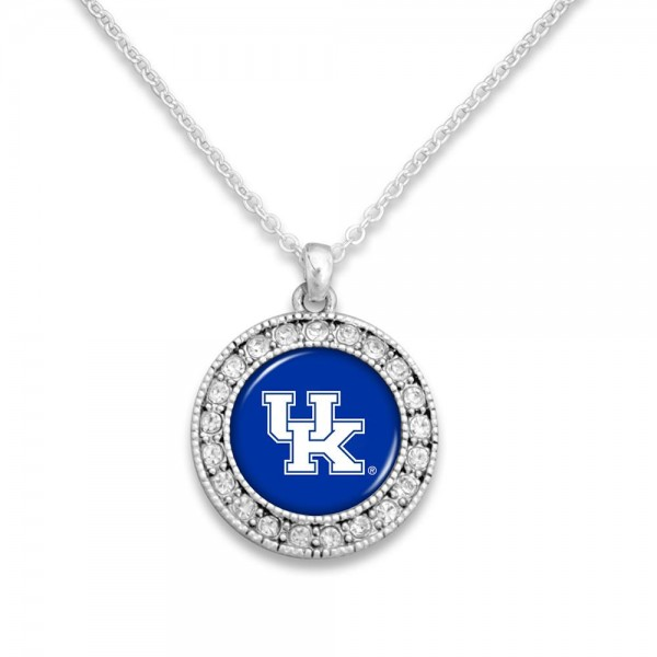 Officially licensed silver tone chain necklace with center medallion of crystal rhinestones and logo.