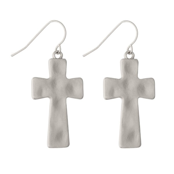 1.25 inch matte silver toned hammered cross earrings
