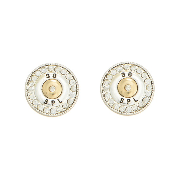"""1/2"""" Two tone post style earrings featuring a 38 special bullet decor accented by crystal rhinestones."""