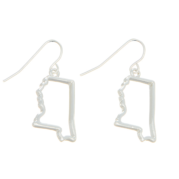 "Silver tone fishhook earrings featuring the state of Mississippi cutout. Approximately 1"" in length."