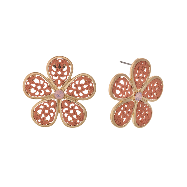 "Gold tone post style earrings displaying a coral filigree design flower. Approximately 1 1/2"" in length."