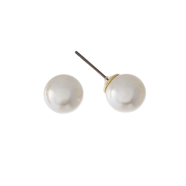 10mm cream pearl studs with gold tone posts.