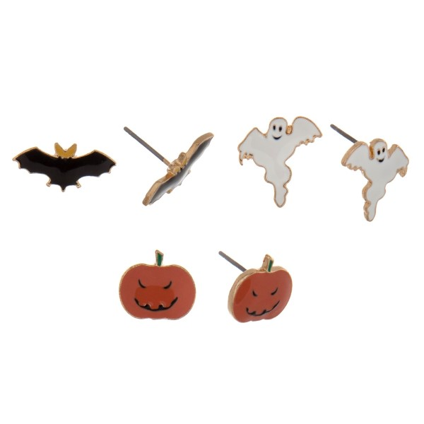 Gold tone Halloween three pair stud earring set with ghosts, pumpkins and bats.