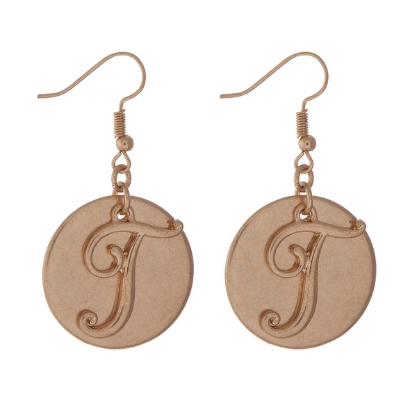 """Gold tone fishhook earrings with a script 'T' initial. Approximately 1.5"""" in length."""