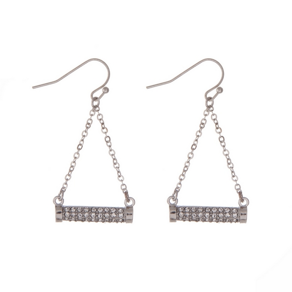 "Silver tone fishhook earrings with a pave rhinestone bar. Approximately 2"" in length."