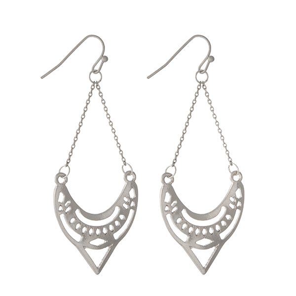Wholesale burnished silver laser cut earrings