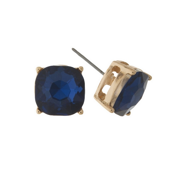 Wholesale gold stud earrings navy blue rhinestone
