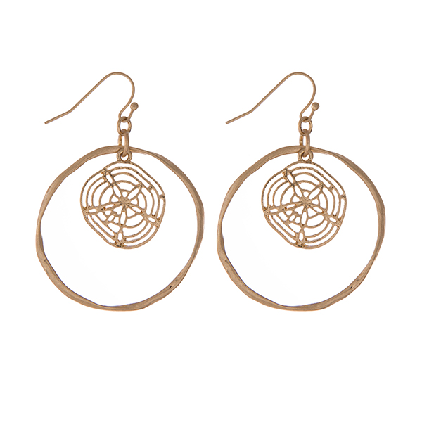 "Gold tone fishhook earrings with a hammered circle and a sand dollar. Approximately 1.25"" in diameter."