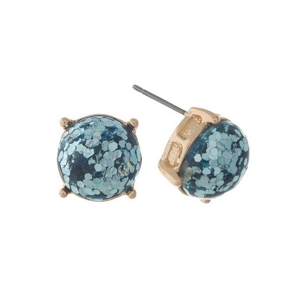Wholesale gold stud earrings turquoise glitter diameter