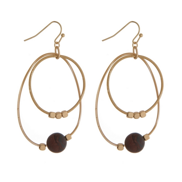 "Gold tone fishhook earrings with two open circles and gold tone and tiger's eye natural stone beads. Approximately 2"" in length."