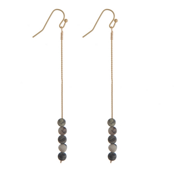 "Gold tone fishhook earrings with gray jasper natural stone beads. Approximately 3"" in length."
