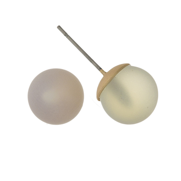 Opal natural stone bead stud earrings. Approximately 14mm in size.