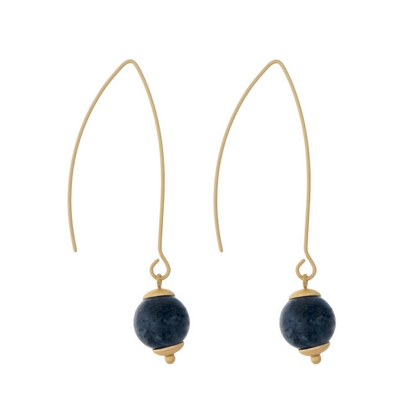 """Matte gold tone long hook earrings with a labradorite natural stone bead. Approximately 2"""" in length."""