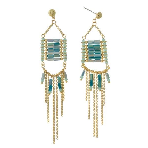 """Gold tone post earrings with turquoise beads and chain fringe. Approximately 4"""" in length."""