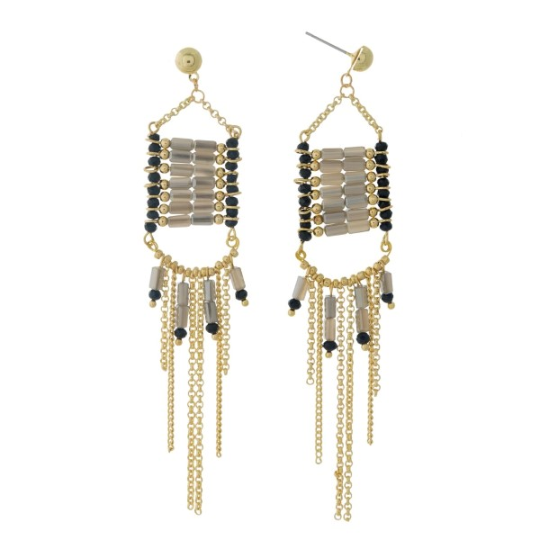 """Gold tone post earrings with black and gray beads and chain fringe. Approximately 4"""" in length."""