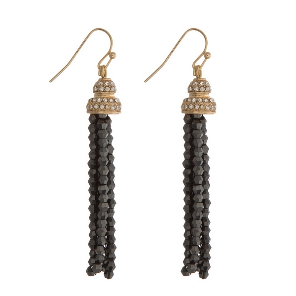 """Gold tone fishhook earrings featuring a black beaded tassel and clear rhinestones. Approximately 2.5"""" in length."""